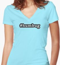 Humbug - Christmas - Hashtag - Black & White Women's Fitted V-Neck T-Shirt