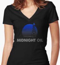 MIDNIGHT OIL - AUSTRALIAN ROCK BAND (BLUE) Women's Fitted V-Neck T-Shirt