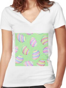 Fun Easter egg design in colourful blue, red, purple, green and yellow stripes with a green background, watercolour Women's Fitted V-Neck T-Shirt