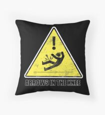 CAUTION - Arrows in the knee Throw Pillow