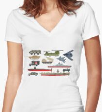 Military Vehicles - The Kids' Picture Show - Pixel Art Women's Fitted V-Neck T-Shirt
