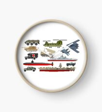 Military Vehicles - The Kids' Picture Show - Pixel Art Clock
