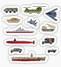 Military Vehicles - The Kids' Picture Show - Pixel Art Sticker