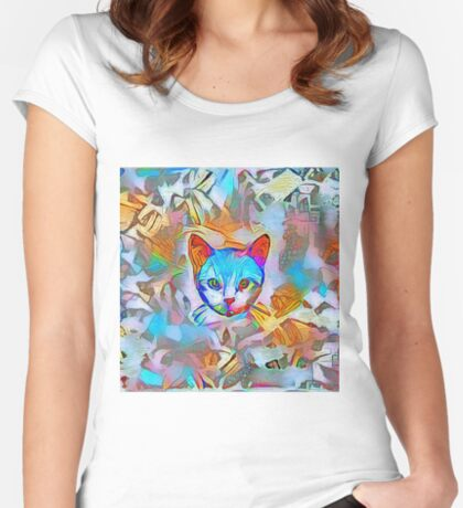 White cat Fitted Scoop T-Shirt