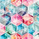 Translucent Watercolor Hexagon Cubes by micklyn