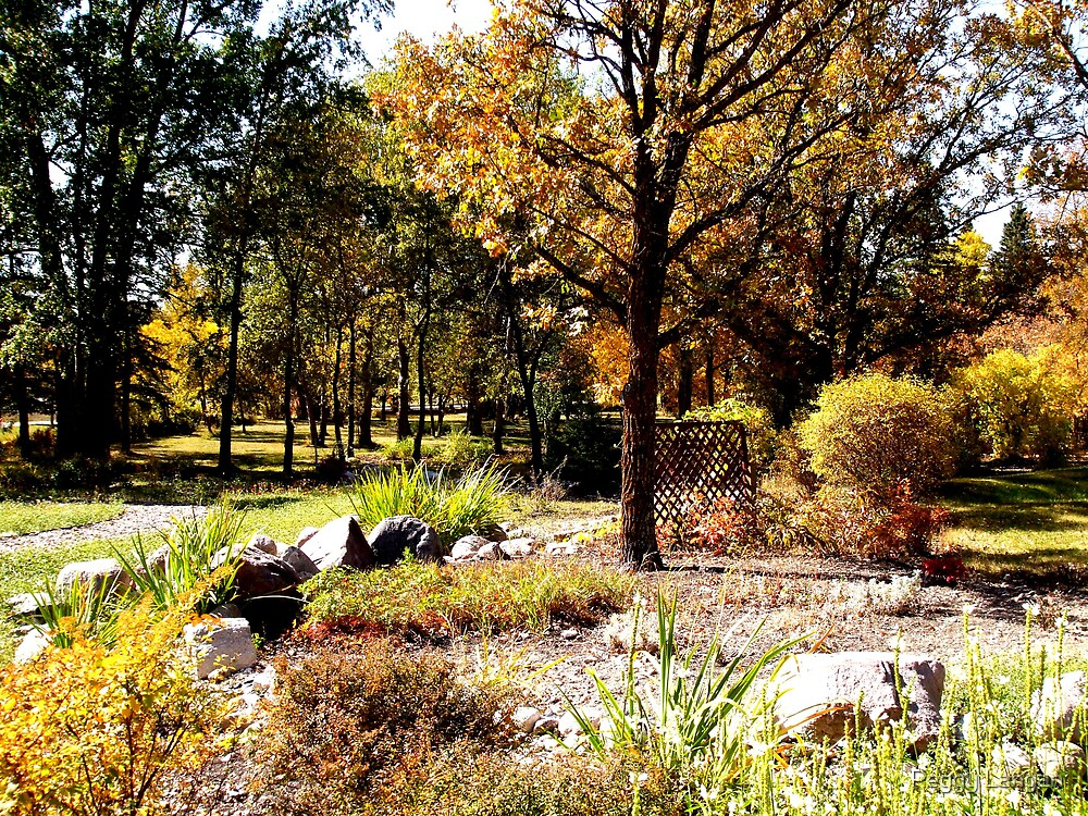 Flower Garden In The Fall by Peggy Langan