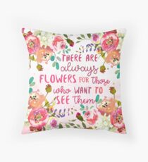 Flowers Matisse Quote Throw Pillow