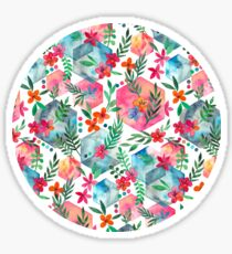 Whimsical Hexagon Garden on white Sticker