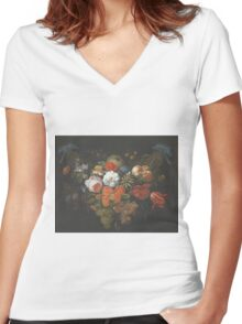 Abraham Mignon - Garland Of Fruit And Flowers Late 1660s Women's Fitted V-Neck T-Shirt