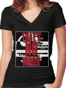 That's No Moon Women's Fitted V-Neck T-Shirt