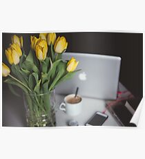 Flowers, coffee and macbook Poster