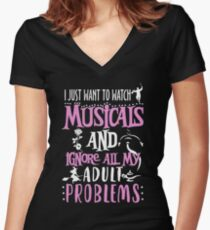 I Just Want To Watch Musicals Women's Fitted V-Neck T-Shirt