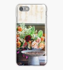 Table with flowers and chocolate iPhone Case/Skin