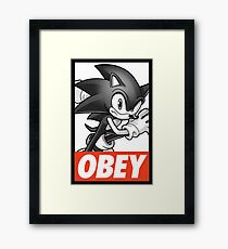 Sonic The Hedgehog OBEY Framed Print