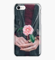 Girl holding a flower iPhone Case/Skin