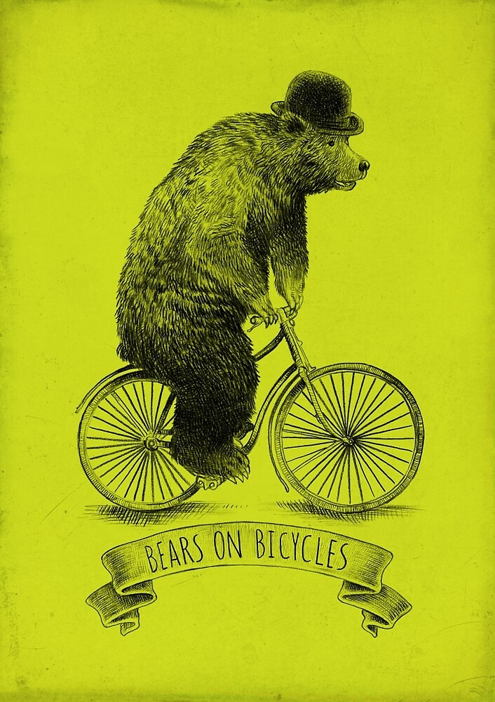 Bears on Bicycles (lime option) by Eric Fan
