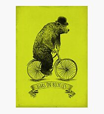 Bears on Bicycles (lime option) Photographic Print