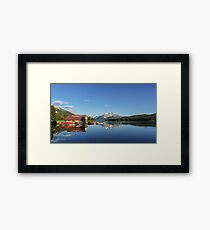 Maligne Lake Boat House Framed Print