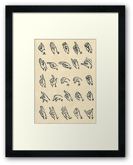 Vintage Sign Language Alphabet Chart Framed Prints By