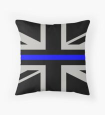 British Flag: Thin Blue Line Throw Pillow