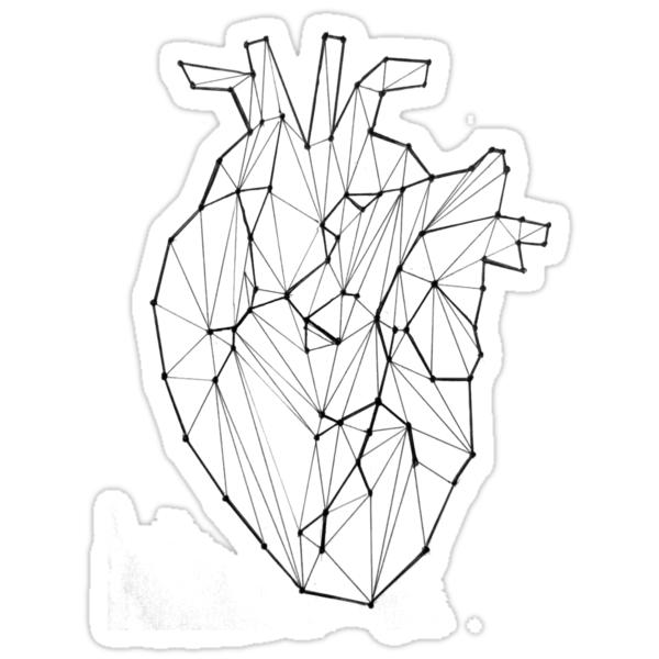 Pegatinas «Corazón anatómico geométrico» de MadnessUnicorn | Redbubble