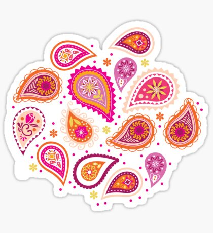 Colorful summer paisleys Sticker