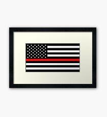 Firefighter: Black Flag & Red Line Framed Print