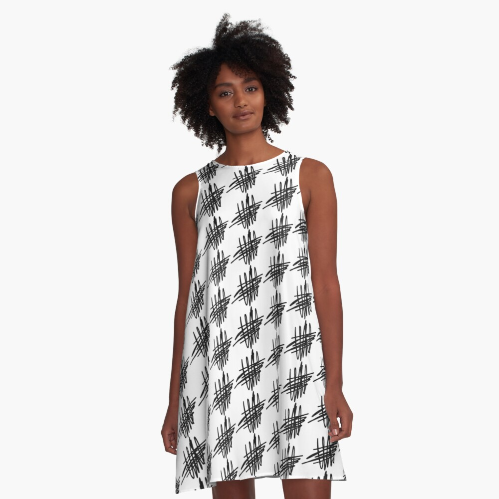 Charcoal Abstract A-Line Dress Front