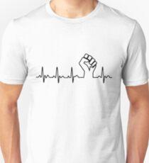 Schwarzer Faust Herzschlag Slim Fit T-Shirt