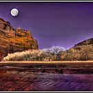 Moon Over Canyon deChelly by Wayne King