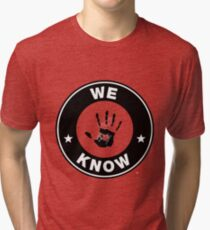 Skyrim - 'We Know' Dark Brotherhood Hand Print Tri-blend T-Shirt