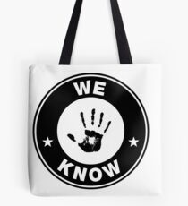 Skyrim - 'We Know' Dark Brotherhood Hand Print Tote Bag