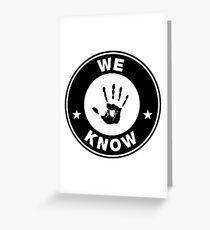 Skyrim - 'We Know' Dark Brotherhood Hand Print Greeting Card