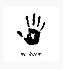 Skyrim - 'We Know' Dark Brotherhood Hand Print Photographic Print