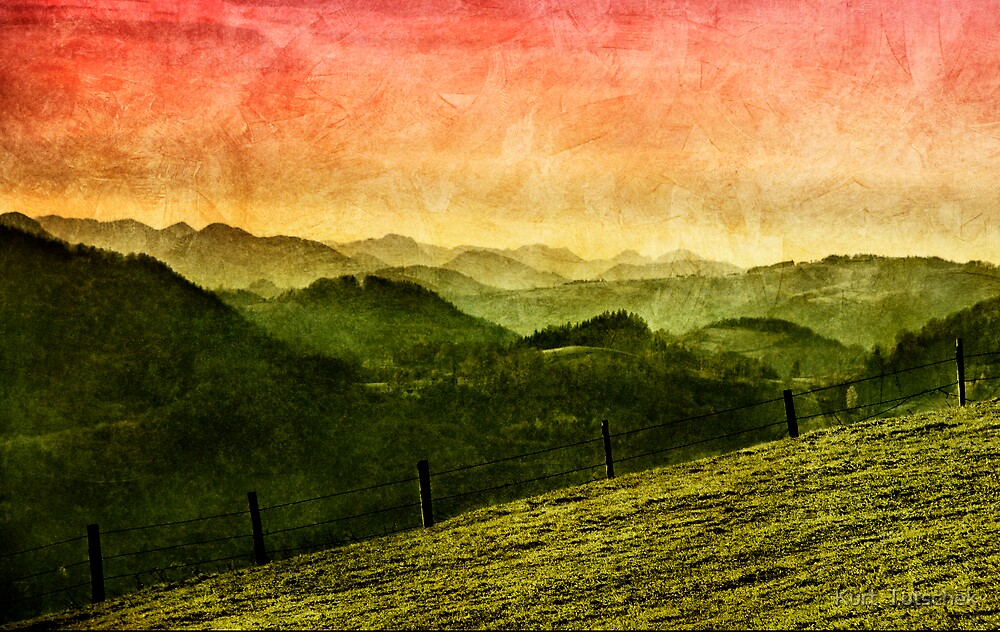 Landscape with mountains by Kurt  Tutschek