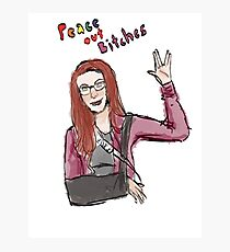"""""""Peace Out B*tches"""" Charlie Bradbury Drawing Photographic Print"""