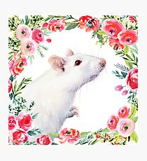 White Rat and Red Flowers Watercolor Floral Animal Photographic Print