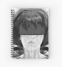 Beautiful Fractal Feathers for Major Motoko in Black and White Spiral Notebook