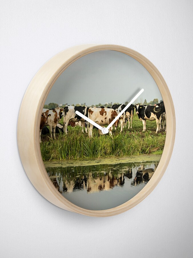 Alternate view of Cows and their reflective image Clock