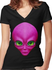 Psychedelic Neon Alien In Magenta Women's Fitted V-Neck T-Shirt