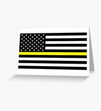 U.S. Flag: Thin Yellow Line Greeting Card