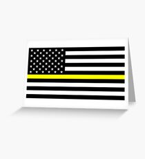 U.S. Flag: Thin Yellow Line Greeting Card