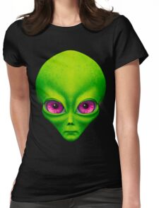 Psychedelic Neon Alien Head In Green Womens Fitted T-Shirt