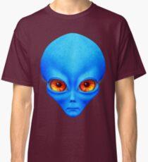 Psychedelic Neon Alien Head In Blue Classic T-Shirt