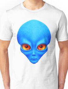 Psychedelic Neon Alien Head In Blue Unisex T-Shirt