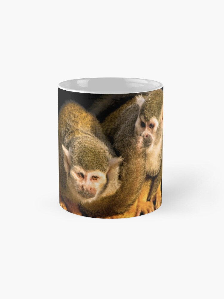 Alternate view of Two squirrel monkeys agains black background Mug