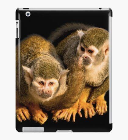 Two squirrel monkeys agains black background iPad Case/Skin