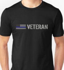 Police: Veteran (Black Flag Blue Line) Unisex T-Shirt