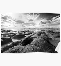 Norfolk rugged coastline black and white Poster