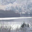 Columbia river and snow 2 by Dawna Morton